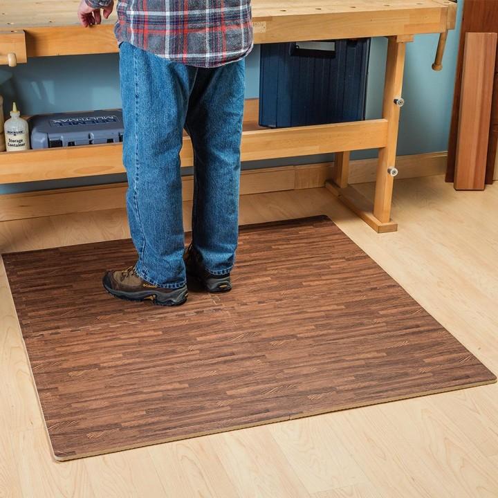 Wood Grain Interlocking Anti Fatigue Floor Mats Light And Dark Available Unlimited 1 00 Shipping 13 Deals