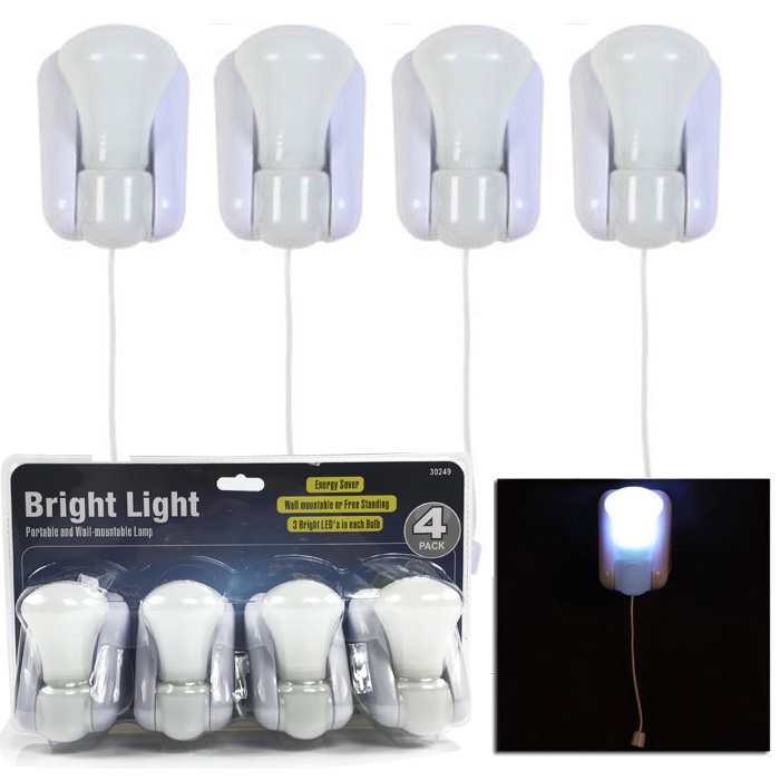 4 Pc Led Battery Operated Bulb Lights Wall Mountable Or
