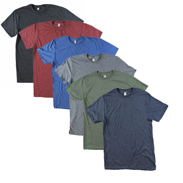 6-Pack Mens Ultra-Soft Heathered Cotton Blend T-Shirt