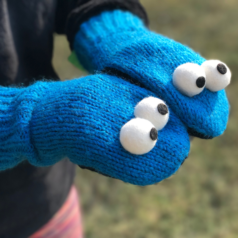 Cookie Monster Wool Mittens w/...
