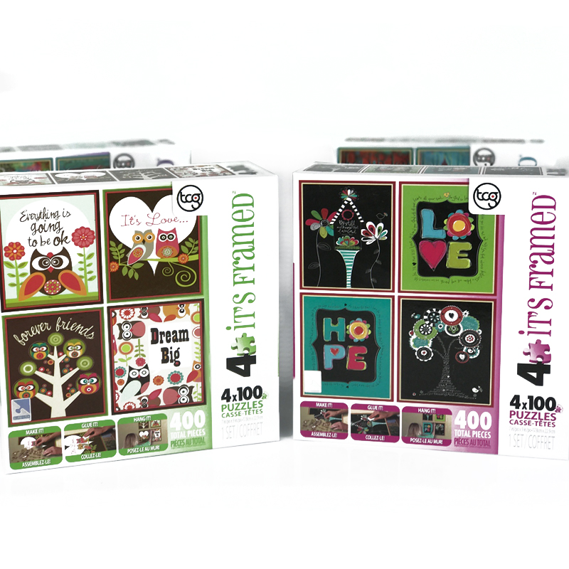 16- 100 Piece Puzzles Ready To Frame! Includes Hanging Kit and Glue ...