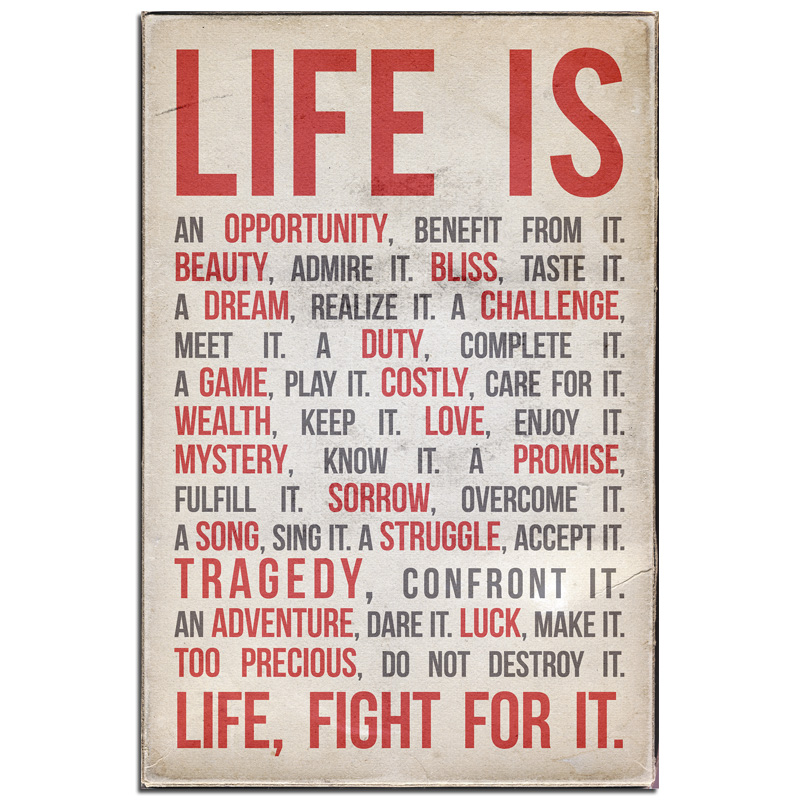 Life Is - Typography Print - POSTER (2 sizes available) OR Canvas - SHIPS FREE!