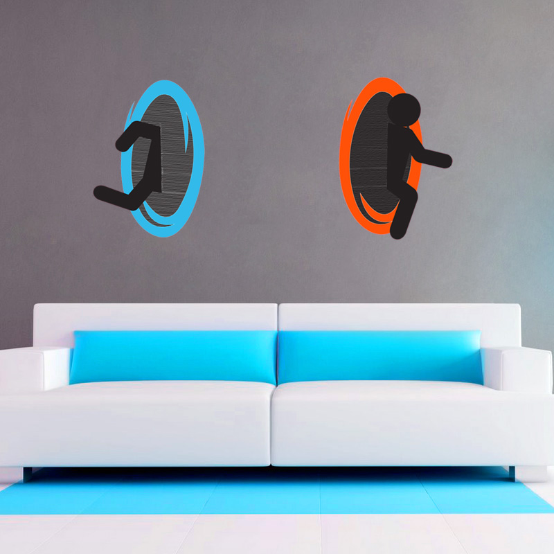 Portal Decal Or RePositionable Wall Cling Set SHIPS FREE  Deals - Portal 2 wall decals