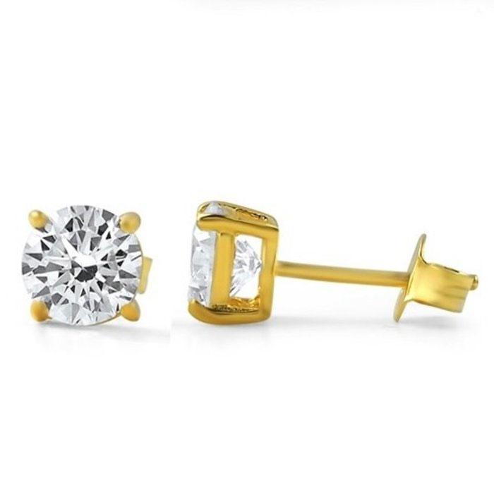 Cubic Zirconia 10K Gold Earrings