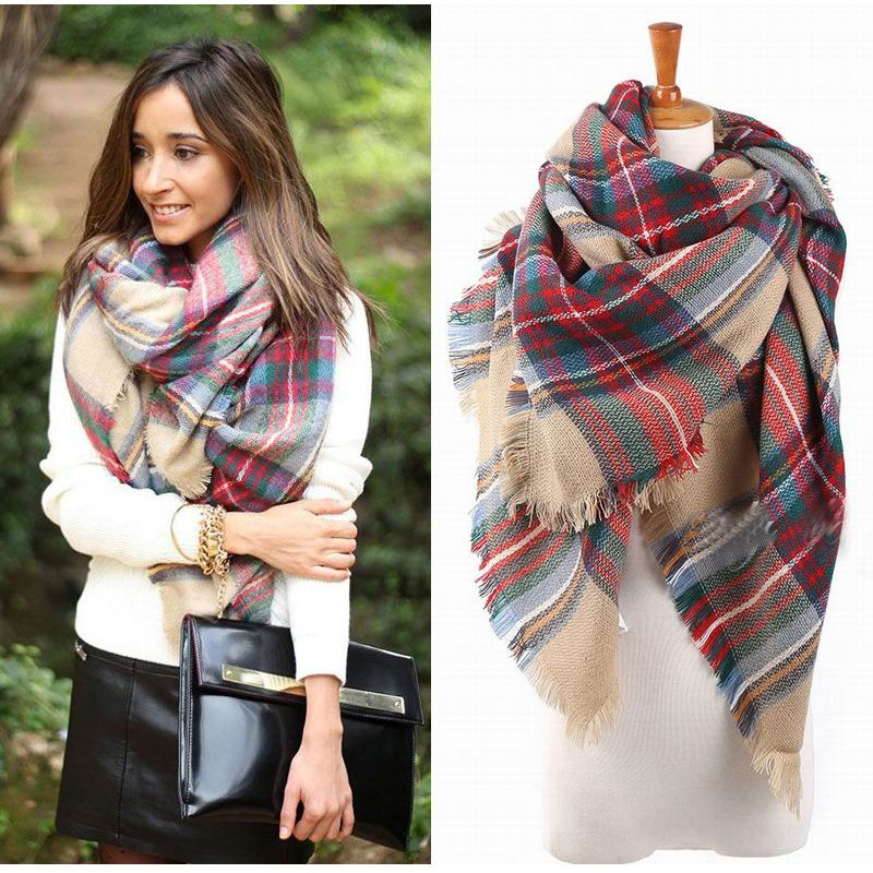 Plaid Blanket Scarf - $8.99 (R...