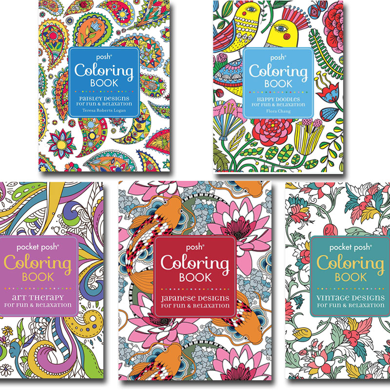 Posh Adult Coloring 5 Book Set
