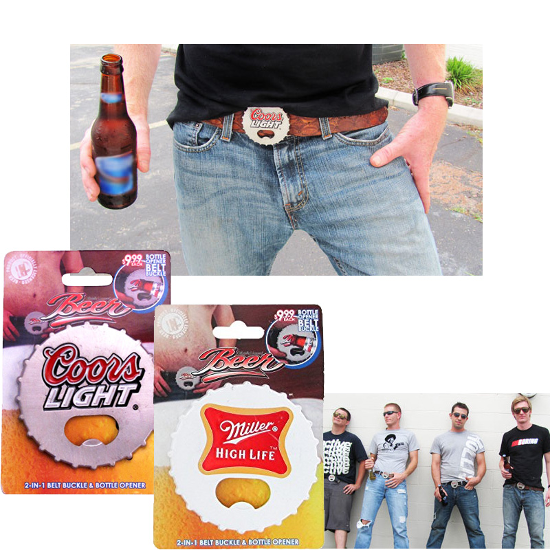 Beer-Cap-Belt-Buckle-w-Bottle-Opener-Coors-or-Miller-High-Life-24399-Ships-Free