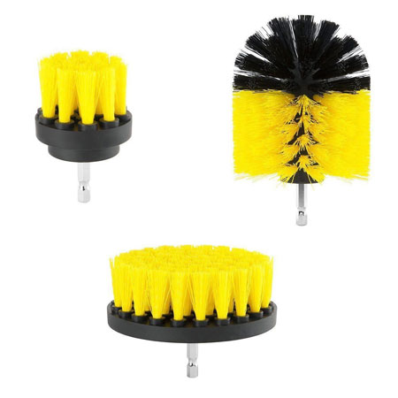 3 Piece Scrub Brush Drill Attachment Kit