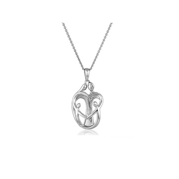 18K White Gold Plated Mother a...
