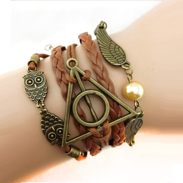 Harry-Potter-OwlDeathly-HallowsGolden-Snitch-Leather-Braided-Bangle-Wrap-Bracelet-24599-Ships-Free