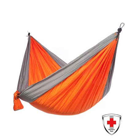 DOUBLE Portable Lightweight Camping Hammock WITH BUILT IN BUG REPELLENT!  - Yup, it\'s coated with harmless, odorless insect repellent that lasts the LIFETIME of the hammock! - BONUS: Includes FREE Hanging Straps! - SHIPS FREE!