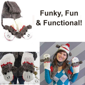 Sock Monkey Scarf with Built-I...