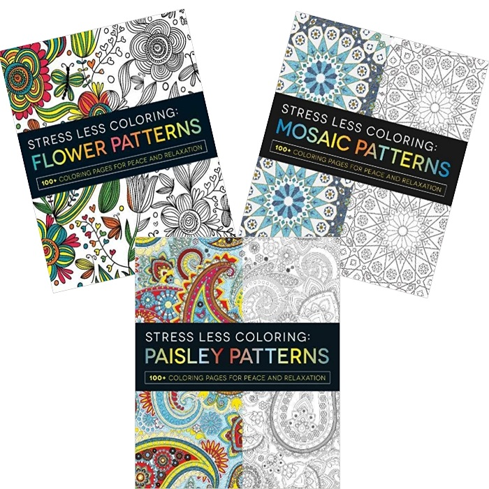 Set of 3 Stress Less Coloring - Paisley Mosaic and Flower