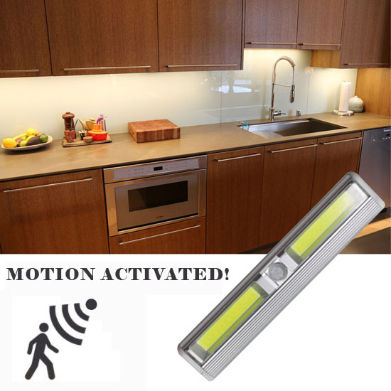 Wireless Instant Stick Up Motion Activated COB LED Under / Inside Cabinet  Lighting   Also Great To Stick In Drawers For Light When You Open It!