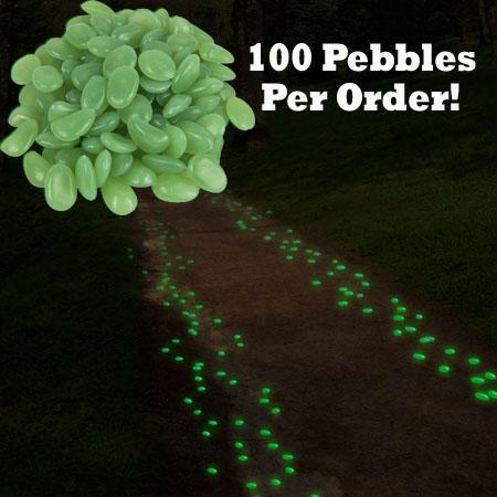100 Glow In The Dark Garden Pebbles Great For Walkways