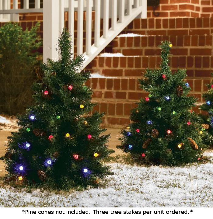 Set of 3 - Cordless Pre-Lit LED 24 Inch Yard Christmas Trees ...