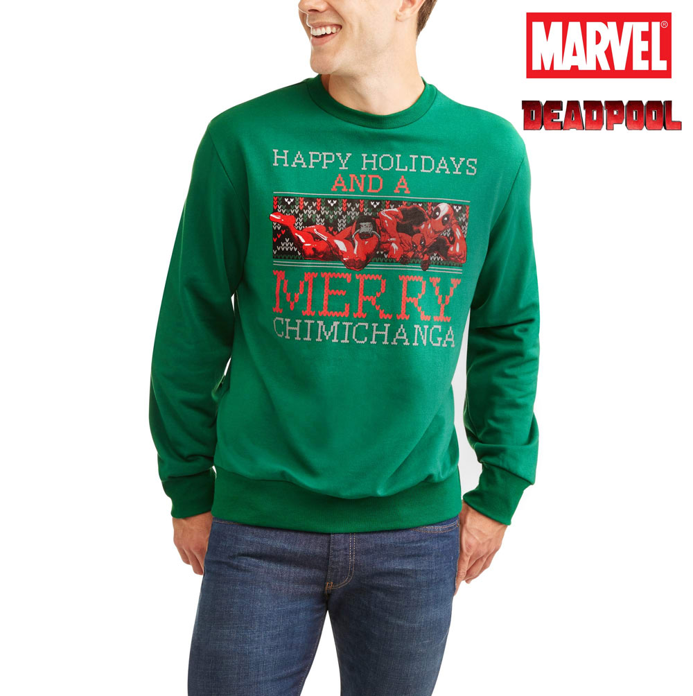 marvel mens deadpool merry chimichanga ugly christmas sweater fleece sweatshirt these are unixes but the sizes are listed as mens ships free