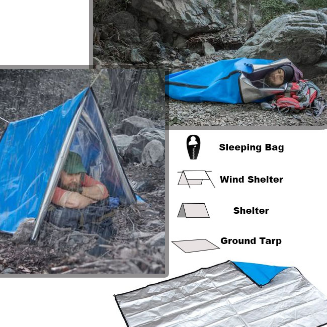 Heavy Duty Multi-functional Shelter System - Can be used as a Waterproof Sleeping Bag, Emergency Thermal Blanket, Waterproof Shelter, or a Ground Cover! - Add this incredibly versatile piece of equipment to your supplies and always be ready! SHIPS FREE!