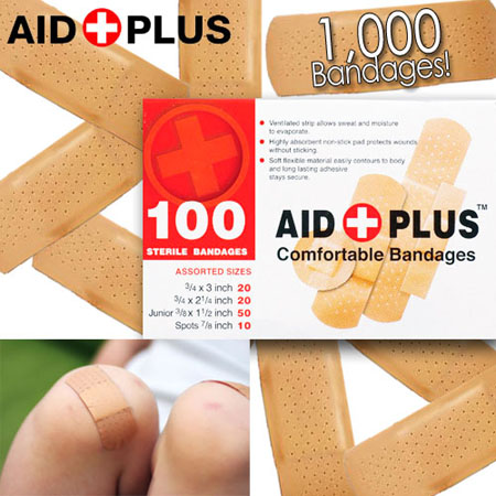 1,000 Bandages of Assorted Sizes - A lifetime supply?