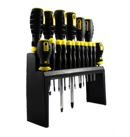 18 Piece Screwdriver Set with Bench Rack (Also wall mountable! - SHIPS FREE!