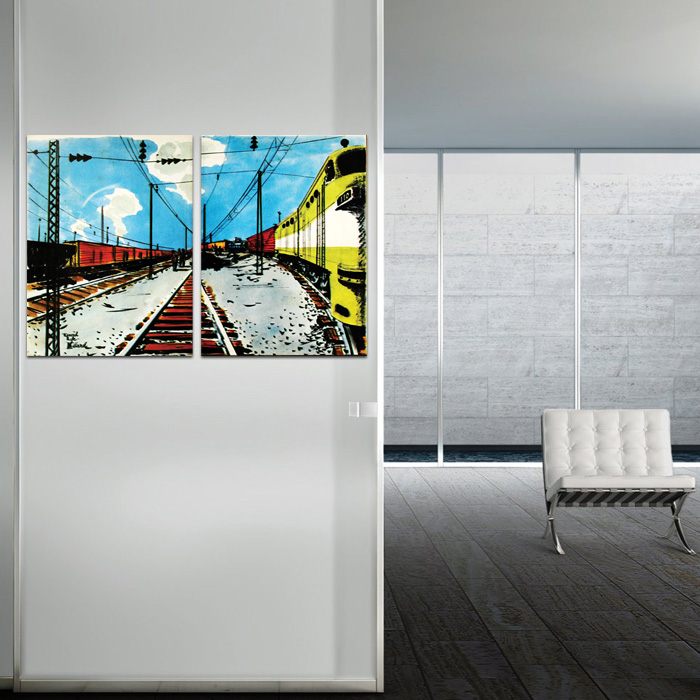 Diptych Pop Art Train Station 2 Poster Set - SHIPS FREE!