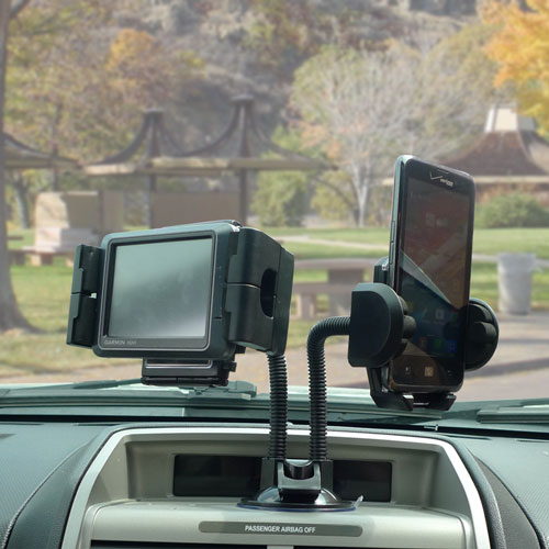 Universal Dual Car Windshield Swivel Mount Holder for GPS/Cellphone/MP3 Player