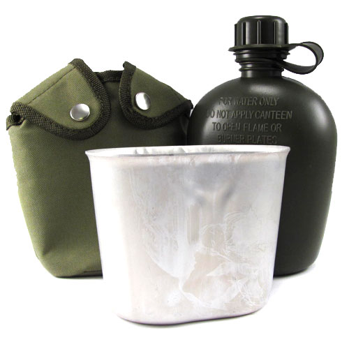 Military Style Canteen Cup & Pouch Set - Holds 44 Ounces!