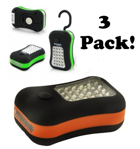 3 Pack Of 27 LED Work Light With Magnets & Batteries - SHIPS FREE