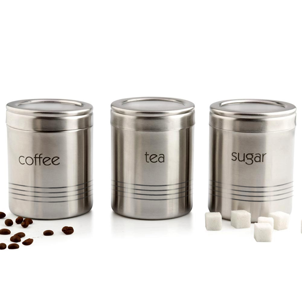 3pc. Stainless Steel Coffee/Tea/Sugar Canister Set