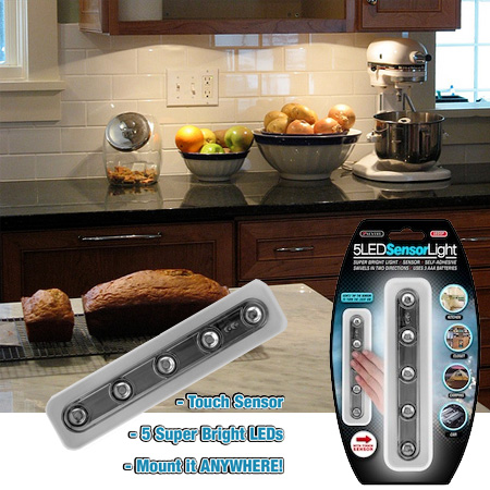 Wireless 5 LED Tap Light - Perfect for under cabinet lighting and more! SHIPS FREE