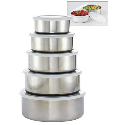 5 Piece Stainless Steel Mixing Bowl Set with Lids