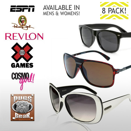 8 Pack Of Name Brand Sunglasses - You choose Men's or Women's