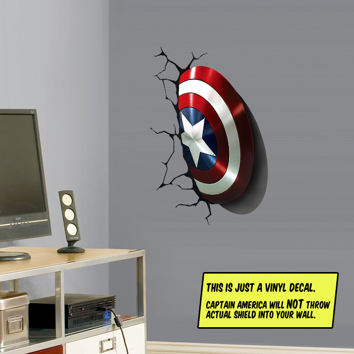 Captain America's Shield Stuck In Your Wall - Wall Cling (Compare to Fathead) - SHIPS FREE!