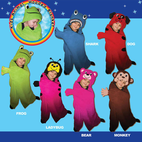 Kids Hooded Animal Blanket - Frogs, Dogs, Bears (and More), Oh My!