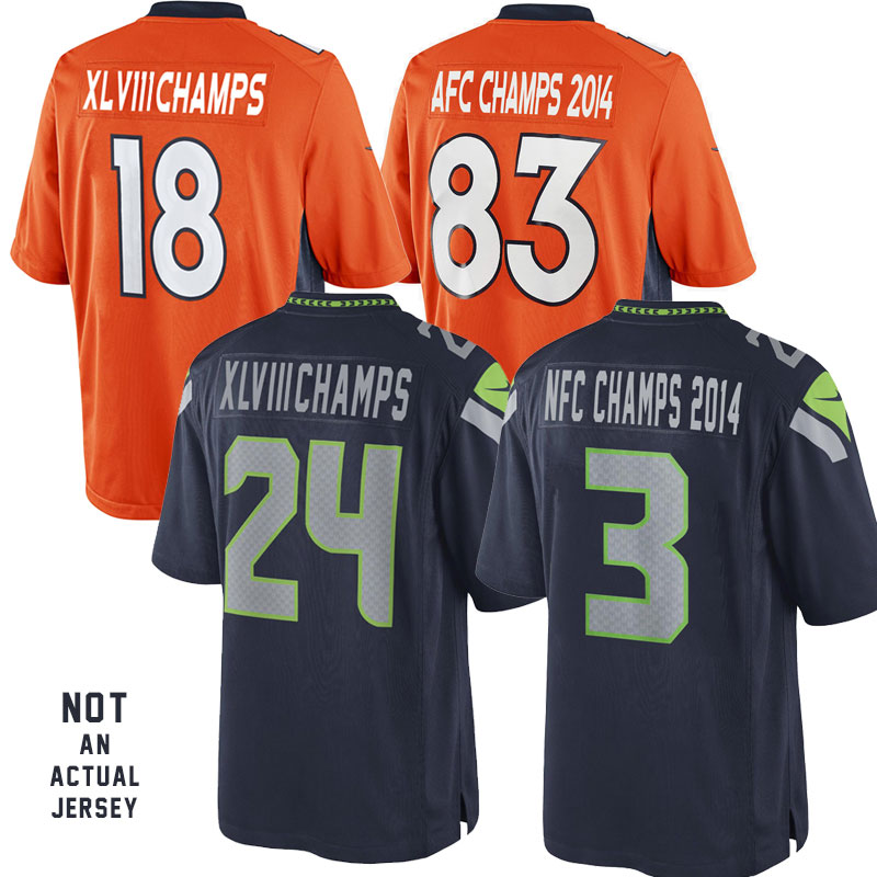 Seattle or Denver  AFC or NFC CHAMPS Wall Cling (Compare to Fathead) w/ BONUS - XLVIII CHAMPS Wall Cling...For When Your Team Wins! - SHIPS FREE!