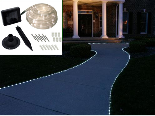 Solar Powered 50 LED Rope Lighting - White - SHIPS FREE!