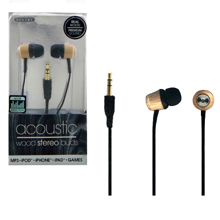 Wooden Digital Earbuds - Made with real wood!  SHIPS FREE!