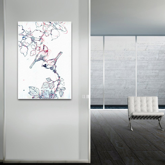 Canvas Japanese Two Birds Print - SHIPS FREE!