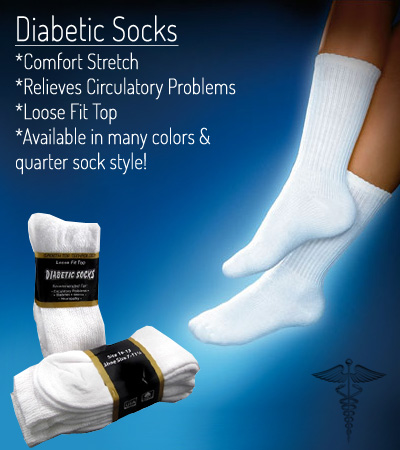 6 Pairs of Diabetic Socks - Available in CREW or Quarter Sock - Ships FREE!