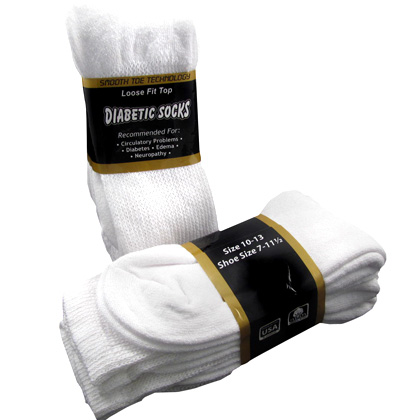 6 Pairs of Diabetic Socks- White, Black or Khaki - Ships FREE!