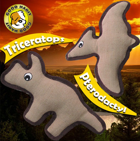 2 Pack of Super Tough All Natural Jute Dinosaur Toys - You Get BOTH Triceratops and Pterodactyl - Ships Free!
