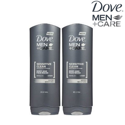 Dove Men + Care Sensitive Clean Unscented Body and Face Wash 2 Pack