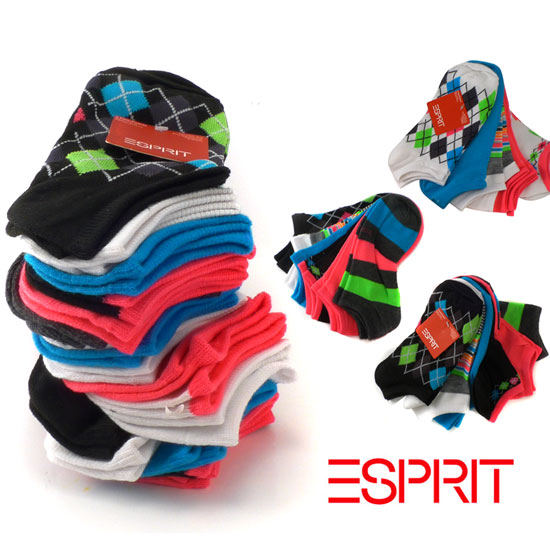 18 Pairs of Women's Esprit No-Show Socks - Ships Free!