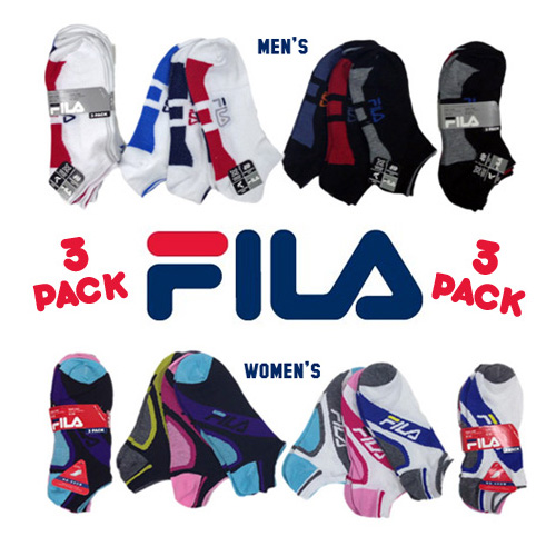 Fila No-Show Socks 3 Pairs - Choose Mens or Womens