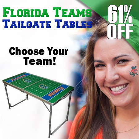 The Original Portable Tailgate Table - Officially Licensed Florida Teams! - SHIPS FREE!