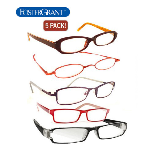 5 Pack - Foster Grant Reading Glasses - Choose your power level at checkout! - UNLIMITED $1.00 SHIPPING, SO STOCK UP AND SAVE!