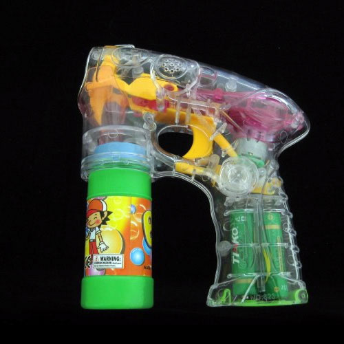 4 LED Flashing Bubble Gun - Includes 2 Bottles of Bubble Solution