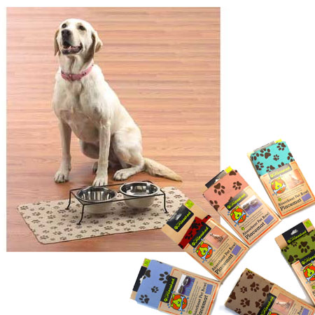 Set of 2 Large Absorbent Pet Bowl Placemats by Dogs Unleashed