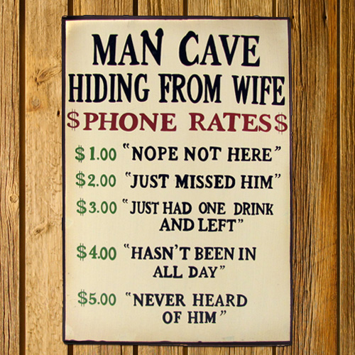 Man Cave - Hiding From Wife - Wooden Sign