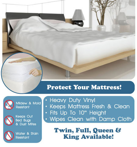Waterproof Soft Vinyl Mattress Protector - Available in Twin, Full, Queen and King! - SHIPS FREE